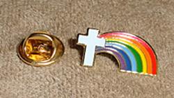 Rainbow Cross Lapel Pin & backing